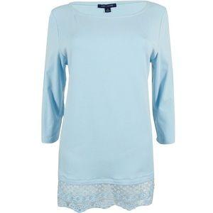 TOMMY HILFIGER Top Tunic Cotton Stretch Lace Hem L